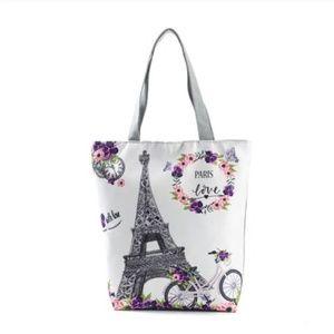 Canvas Shoulder Bag Women Tote Handbag Paris Style